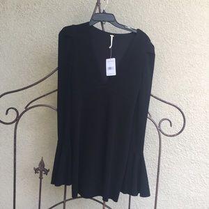 Free People Black V Neck Talk About It Mini Dress